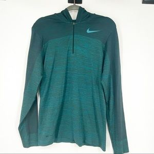 NIKE PRO Training green Hood mid zip pullover L